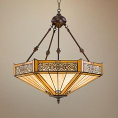 """Stratford 3-Light Mission Tiffany Pendant Light - 18"""" wide x 23"""" high.  Perhaps just right? $250."""