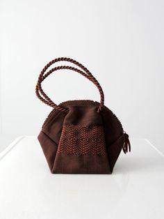 vintage 40s ribbon handbag Corde style purse by 86Vintage86