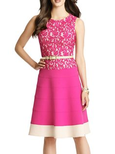 Rose Red Sleeveless Contrast Lace Slim Dress.  I love this!