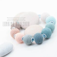 Light blue mint pink short colorful polymer clay necklace