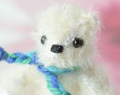 Miniature polar bear in a scarf - articulated teddy - mohair artist bear - handsewn white bear - gift boxed - Moby and Puddle