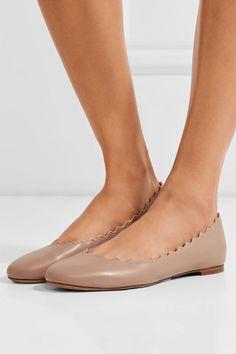 Chloé | Lauren scalloped leather ballet flats | NET-A-PORTER.COM