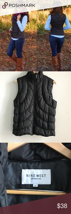 Nine West Black Down Puffer Vest Nine West Black Down Puffer Vest - Size Large. 60% down/ 40% feathers. Nine West Jackets & Coats Puffers