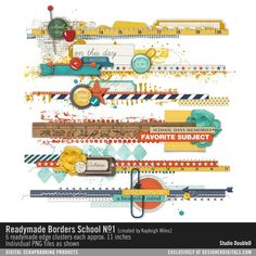 Readymade Borders: School No. 01 #strips #collage #edges #school #backtoschool #memories #clusters #borders #designerdigitals #readymades @kayleigh