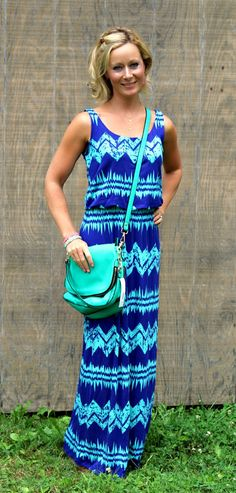Love the colors! August Stitch Fix Review from Primally Inspired | Pixley Livie Abstract Chevron Maxi Dress