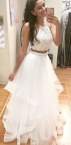 white two pieces sequin tulle long prom dress white evening dress for teens