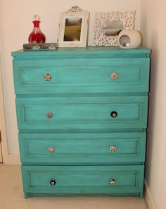 Ikea Malm dresser painted in autentico bright turquoise and distressed with dark wax.