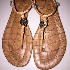 bf42941d9 Tory burch emmy sandals tan croc print size 8.5