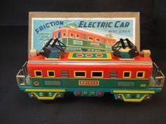 Alps Tin Friction Electric Car Tin Train Engine MIB mint in box