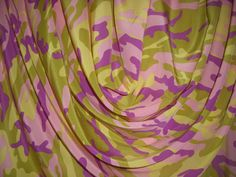 Pink and Green Camo Print Pure Silk Crepe de Chine Fabric--One Yard. $19.88, via Etsy.