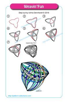 Weavin& by Ulima Dennhardt - Tangle Doodle, Tangle Art, Zen Doodle, Doodle Art, Zentangle Drawings, Doodles Zentangles, Doodle Patterns, Zentangle Patterns, Zen Art