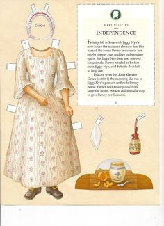 Felicity's Paper Dolls an AMERICAN GIRL by Pleasant Company Publications, 2005: Page 5 (of 30). Even pages are the backs of odds and contain description of outfit and possibly book page (1 through 20)