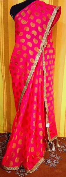 Pink Pure Georgette Saree by indberry on Etsy