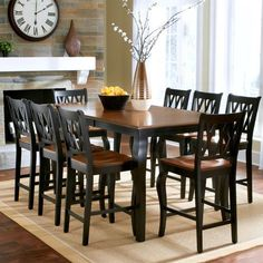 Roslyn 9-Piece Rectangle Counter-Height Dining Set