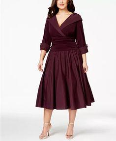 Jessica Howard Plus Size Portrait-Collar A-Line Dress - Dresses - Women - Macy's Fall Dresses, Evening Dresses, Dresses For Work, Bride Dresses, Party Dresses, Lounge Dresses, Peplum Dresses, Dressy Dresses, Dress Party