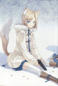 Anime picture 2364x3465 with original h2so4 single tall image short hair blue eyes highres blonde hair sitting animal ears tail animal tail zettai ryouiki open jacket girl thighhighs weapon shirt white thighhighs necktie