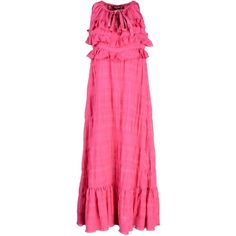 Love Moschino Long Dress ($330) ❤ liked on Polyvore featuring dresses, fuchsia, laced up dress, ruffle dress, fuschia pink dress, cotton dress and sleeveless dress