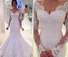 Elegant Sleeves Mermaid Lace Off The Shoulder Long Wedding Dresses Quality Prom Evening Bridesmaid