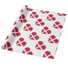 Switzerland/Swiss Flag-inspired Hearts Wrapping Paper - wrapping paper custom diy cyo personalize unique present gift idea