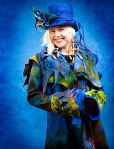 Blue felt hat and coat