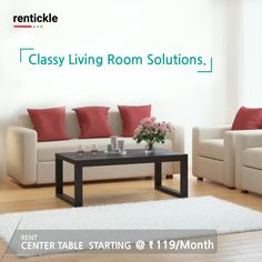 The perfect centerpiece table to complement your living room decor. Keep it simple with Rentickle! Classy Living Room, Living Room Decor, Bedroom Decor, Sofa Bed, Sectional Sofa, Sofa Design, Furniture Design, Interior Decorating, Interior Design