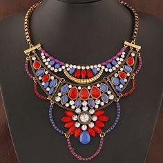 crystal bib necklace wholesale flower necklace box chain statement necklace 2015 new luxury choker Necklace for women on party-in Choker Necklaces from Jewelry on Aliexpress.com | Alibaba Group