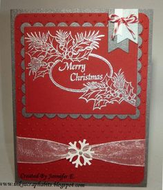 Image by DRS Designs is the Christmas Pine Oval (279L) which was heat embossed with silver embossing powder. Please see more details for this card and more of my work on my blog at http://inknscraphabits.blogspot.com/2014/11/embossed-christmas.html