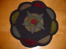 ~*~ Prim Folk Art Black Star Moon Wool Penny Rug Candle Mat ~ Wool Applique ~*~