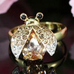 Gold Austrian Crystal Ladybug Ring