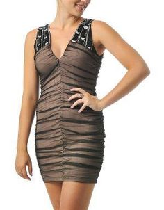(CLICK IMAGE TWICE FOR DETAILS AND PRICING) Ruched Tulle Dress With Sequins Black. Accessorize this dress with a compact clutch and pretty heels for a fun party night. Fully lined in nude and features an overexposed zipper.. See More Party Dress at http://www.ourgreatshop.com/Party-Dress-C79.aspx