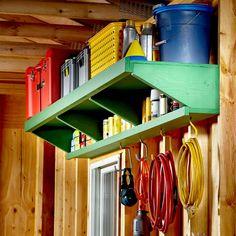 Wooden Garage Shelves, Garage Storage Shelves, Ceiling Storage, Garage Shelf, Stair Storage, Storage Spaces, Diy Shelving, Garage Workbench, Wall Storage
