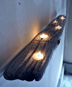 Reclaimed Drift Wood Candle Holder - Wall Mount - Rustic Home - Winter Cabin
