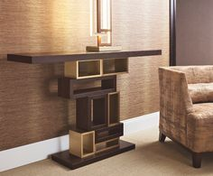 Console Genga by Oasis, a sculptural piece of furniture by wood and bronze.
