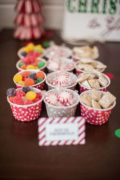 Snack cups at a Santa Christmas party! See more party planning ideas at CatchMyParty.com!