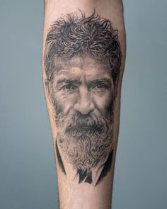 Constantin Brancusi Portrait Tattoo Constantin Brancusi Portrait Tattoo by Aria done at CACTUS INK Bucharest<br> Sternum Tattoo, Constantin Brancusi, Bucharest, Portrait, Cactus, Ink, Tattoos, Artists, Instagram