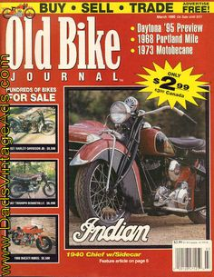 1940 Indian Chief with Sidecar Vintage Indian Motorcycles, The Great White, Grand National, Old Bikes, Sidecar, Portland, Magazines, Transportation, French