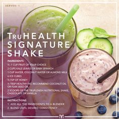 Have you tried the TruHealth Signature Shake yet? This is the ultimate protein packed smoothie to kick start your day the right way, fille. Nutrition Shakes, Healthy Shakes, Healthy Fats, Reduce Appetite, Cleanse Your Body, Free Meal Plans, Baby Spinach, Have You Tried, Good Fats