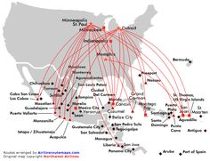 Northwest Airlines route map - Mexico, Central America and Caribbean
