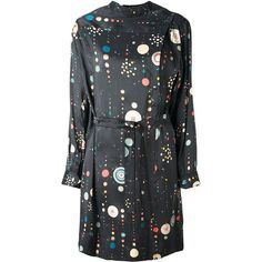 Isabel Marant 'Ossie' cosmic print dress ($395) ❤ liked on Polyvore featuring dresses, black, straight dress, long sleeve short dress, galaxy print dress, short colorful dresses and short dresses
