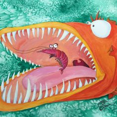 Sneezer, A large orange fish is about to destroy that shrimps whole world. Will his antennae tickle the fishes mouth and save the shrimp?