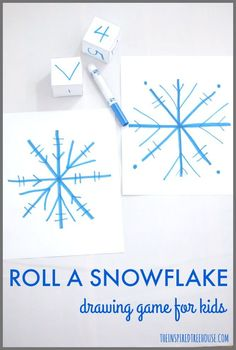 roll a snowflake drawing game for kids pinnable