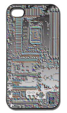 """""""Premium Motherboard""""(c) on an iPhone cover.  (c) 2013 Textiles for Thinkers, LLC.  All Rights Reserved."""