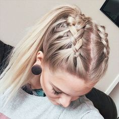Double french crown braids for long hair with high ponytail
