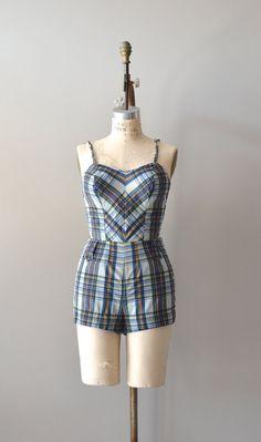 1950s swimsuit / vintage 50s bathing suit / Nantucket Plaid swimsuit