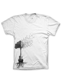 • Our Guitar Tree tshirt is a sure hit with any guitar lover. • All of our T shirts are screen printed. No iron ons, no heat presses. • For extra comfort we use Next Level T Shirts on tees size S-XL. • For our 2x and 3X t shirts we use Gilden 5000s. • We also use only soft inks, no one