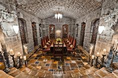 In Celine Dion's house that's for sale, how fun would this be for dinner parties! Cave/wine cellar style dining