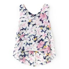 Chicnova Fashion V-Neckline Floral Chiffon Tank found on Polyvore