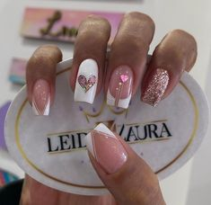 Cute Acrylic Nail Designs, Short Nail Designs, Pink Acrylic Nails, Neon Nails, Gorgeous Nails, Pretty Nails, Square Nail Designs, Short Square Nails, Valentine Nail Art
