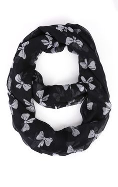 Deb Shops Woven Scarf with Bow Print $9.00