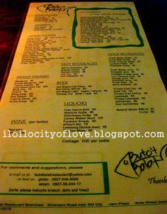 One of the most popular restaurants in Iloilo City, Buto't Balat serves Seafood, Filipino, and Asian Fusion food. Seafood Menu, Seafood Restaurant, Fusion Food, Mixed Drinks, Liquor, Nativity, Characters, Dishes, Alcohol